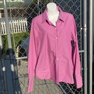 Purple and white long sleeve button down top